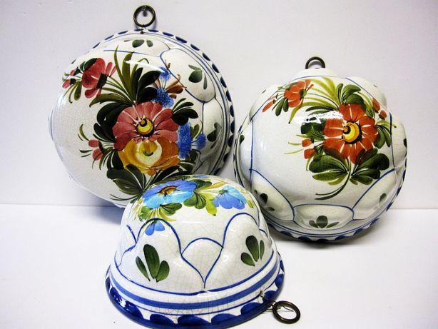 3 formas de bolos decorativos vintage em cerâmica italiana pintada