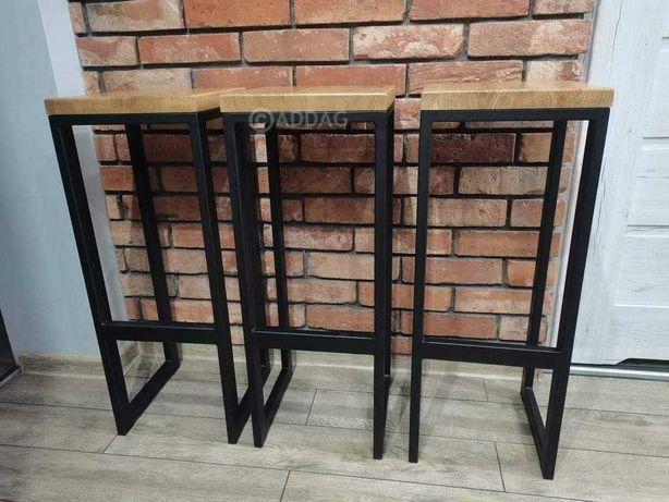 Hoker, stołek barowy, krzesło, taboret, loft, industrial, stal, drewno