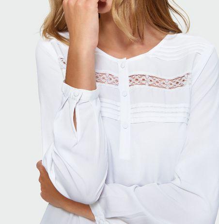 Bluzka piękna Nowa biała bluzki długi rękaw 36 S Greenpoint