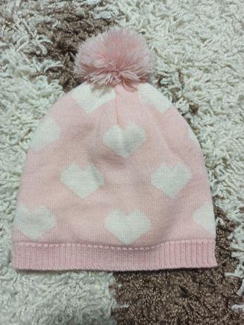 Шапка рожева для дівчинки 41-43 р осінньо- зимова