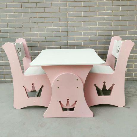 Стол столик растущий и стул стульчик детский с короной
