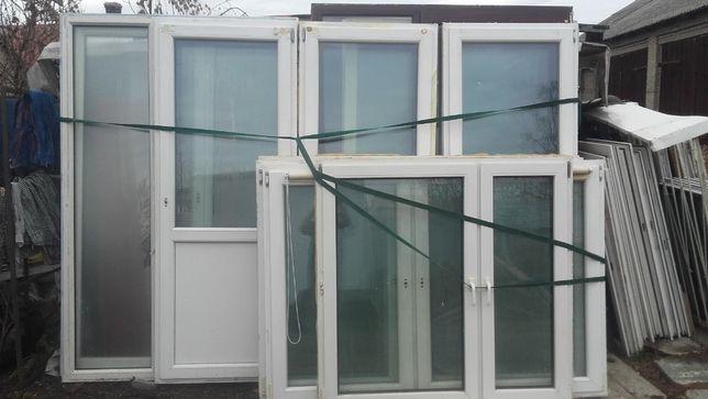 okno okna pcv białe z demontażu używane szer-230 wys-143, 60x100