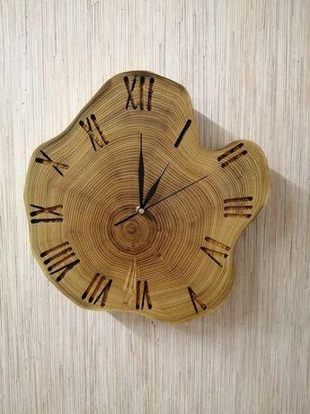 Zegar z plastra akacji handmade