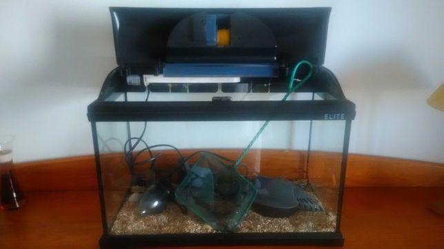 Aquário Completo, com luz, filtro, e rede para apanhar os peixes