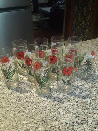 Стаканы, чешское стекло, цветы. ЧССР