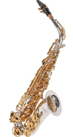 Saxofone alto prateado de marca karl Glaser