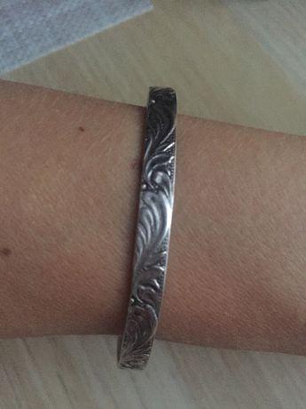 Stara srebrna bransoletka Warmet - liść akantu