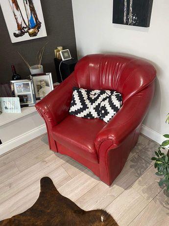 piękna Sofa z funkcją spania..skórzana , plus fotel