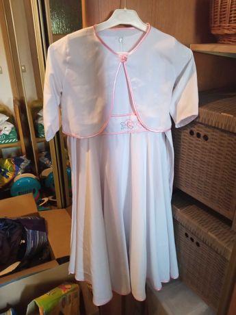 Sukienka dziewczęca biała 128-134 bolerko