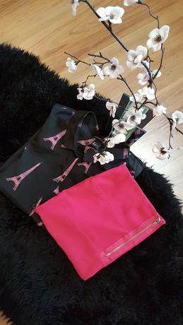 Cudny zestaw:) bluzeczka w wieże Eiffla H&M Spódniczka AMISU roz S/M