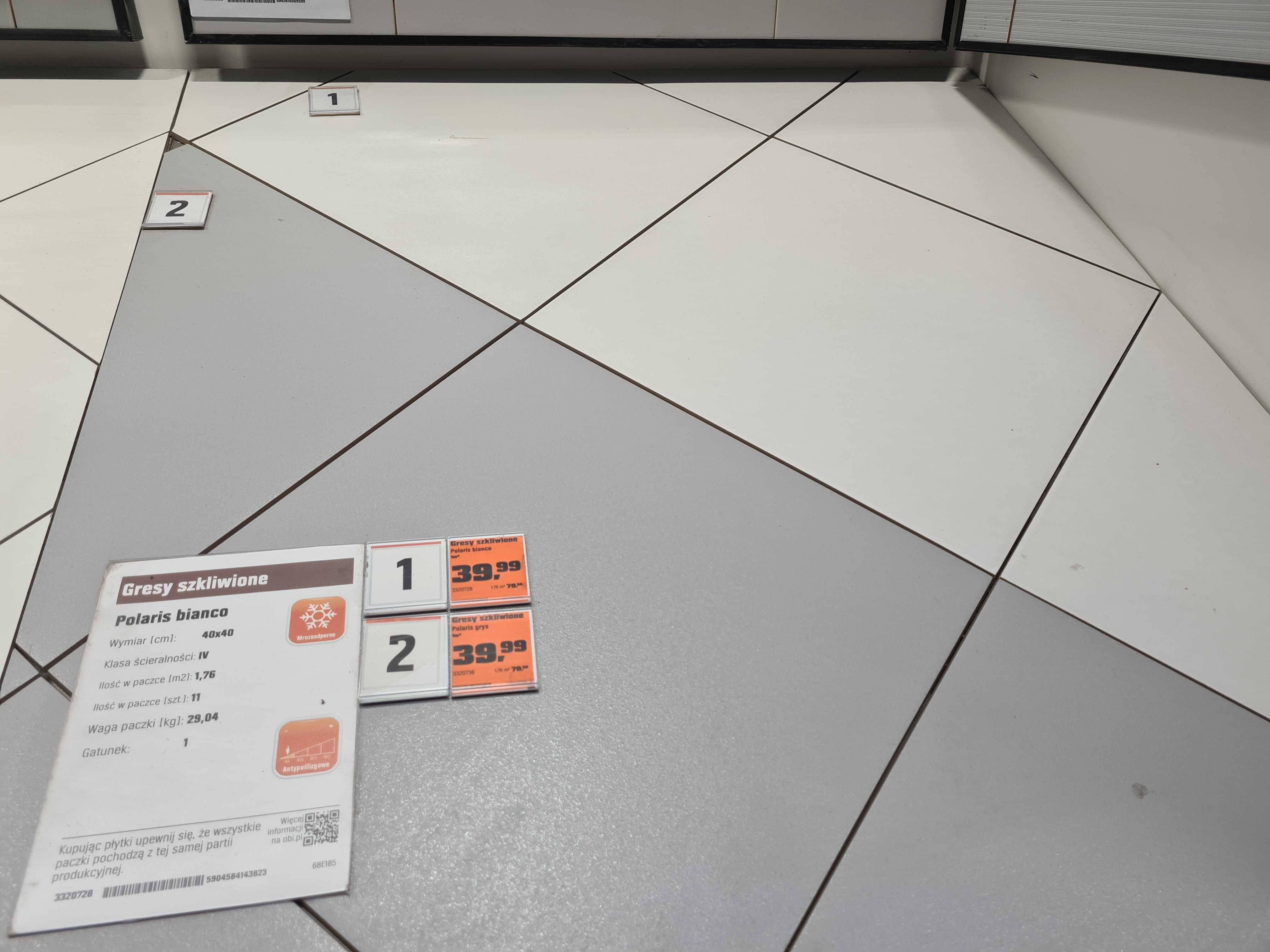 OBI Gres Polaris Bianco/Grys 1,76m2  / 39,98m2 -> 29,97m2
