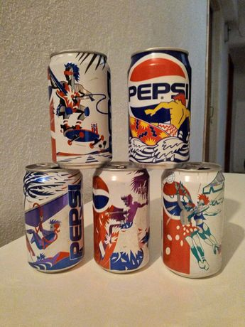 5 Latas de coleção Pepsi-Cola, tema desportos radicais, anos 90