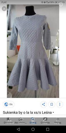 By o la la sukienka pikowana dresowa 36 szara idealna rozkloszowana