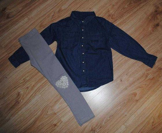 33-> jeansowa koszula RESERVED legginsy koronkowe serce r98/104 2-4Y