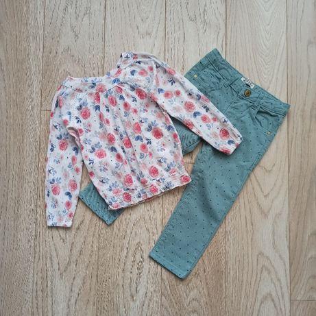 Легкая блуза в цветы с мятными джинсами в горох, на 2 - 3 года