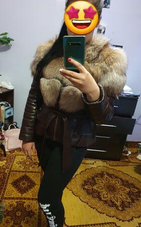 Шкіряна куртка-жилетка +натуральне хутро