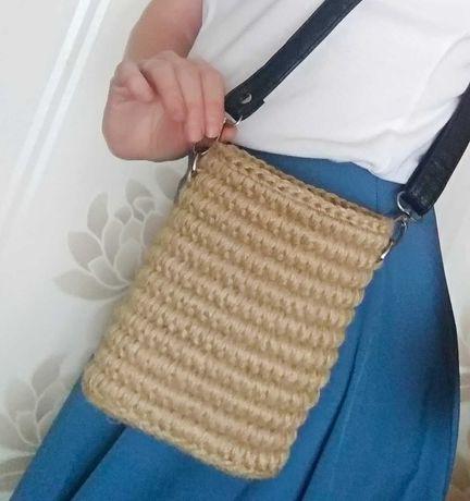 Сумочка-мини/сумка джут/для телефона/для ключей