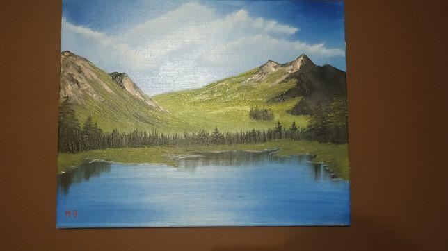 Obraz olejny, zapierający dech w piersiach krajobraz. Góry jezioro las