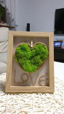 Ramka z sercem i od serca mech chrobotek, oryginalna ozdoba,prezent