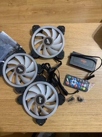 Set RGB de três ventoinhas e caixa controladora