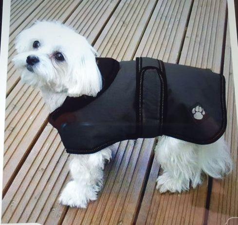 Termiczny płaszcz ubranko dla psa kolor czarny rozmiar S