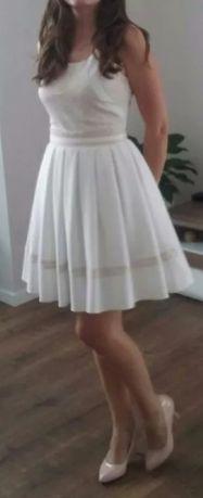 sukienka wesele poprawiny studniówka pudrowy róż biała