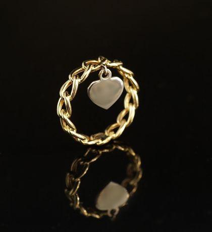 Złoto 585 - złoty pierścionek z przywieszką serce rozm 22