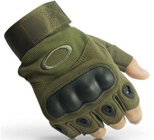 Тактические беспалые перчатки Oakley (олива и черный)