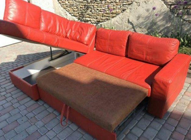 Кожаный угловой диван со спальным местом «Rosso» (010812)