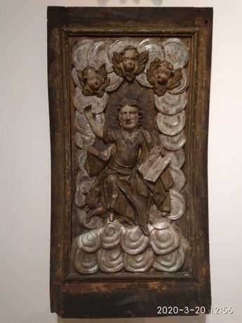 Płaskorzeźba św. Łukasza XVII wiek. Zabytek, antyk