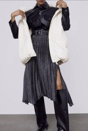 Стильная юбка плиссе Зара Zara S c поясом чёрная длинная