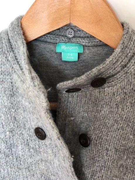Szary wełniany sweterek / płaszczyk Monsoon rozm. 3-6 mcy, 62-68