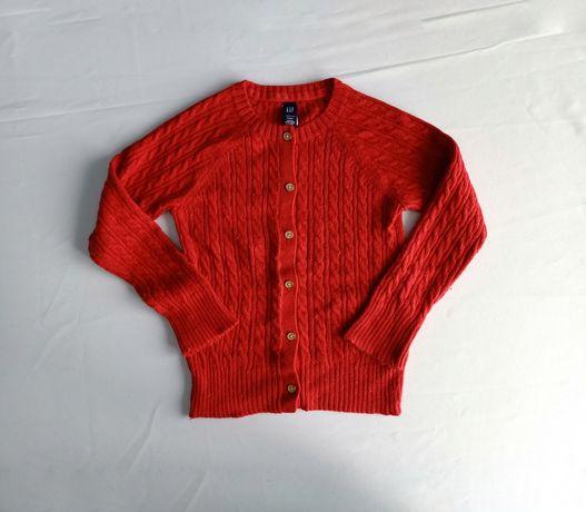 Rozm. 110 sweter czerwony zapinany na złote guziki Gap