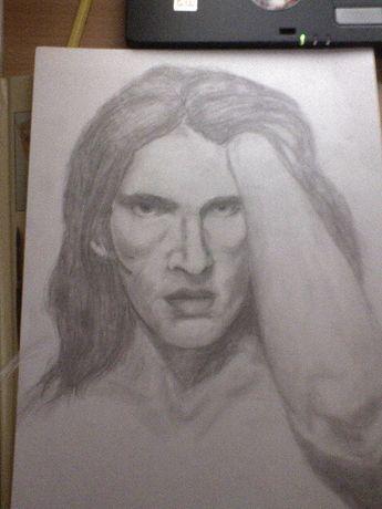 Rysunek, portret ze zdjęcia.