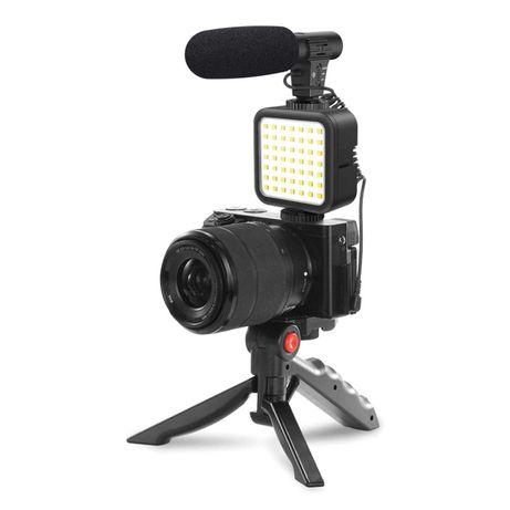 Zestaw Do Nagrywania Vlogger KIT Statyw, Uchwyt na tel, LED, Mikrofon