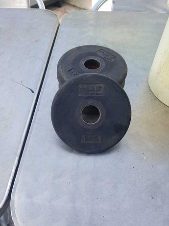Pesos de musculação  1 kg (28MM) vendo/troco por discos com mais peso.