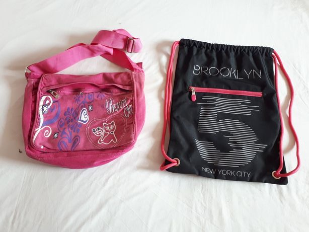 Czarny worek Brooklyn NYC z zamkiem, różowa torebka na ramię kot