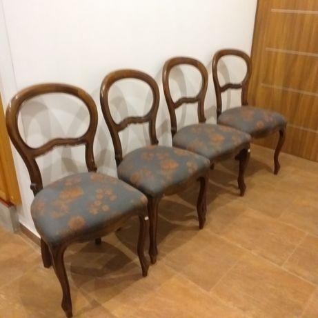 4 krzesła medaliony obicie z kwiatami