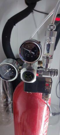Kit CO2 - Válvula selenoide c/ conta bolhas + 2 garrafas CO2