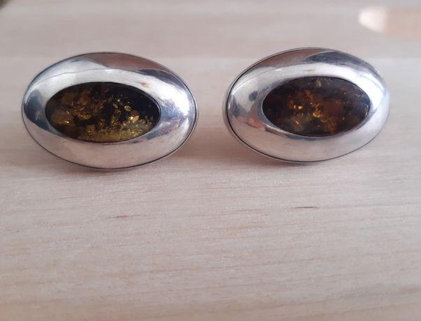 Klipsy srebro 925 bursztyn bałtycki