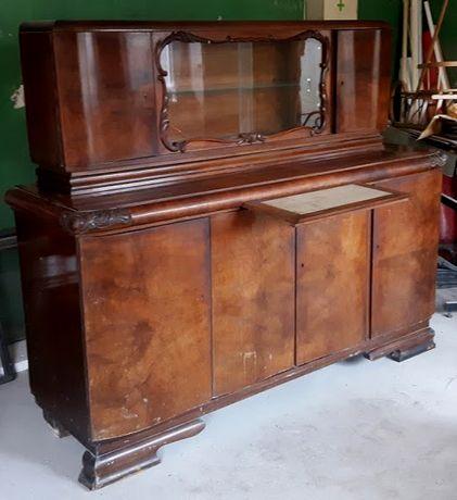 Kredens rzeźbiony z nadstawką Biedermeier z biurkiem bardzo oryginalne