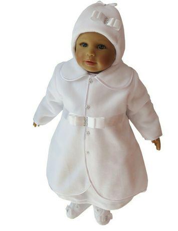 zimowe ubranko do chrztu dla dziewczynki r.68