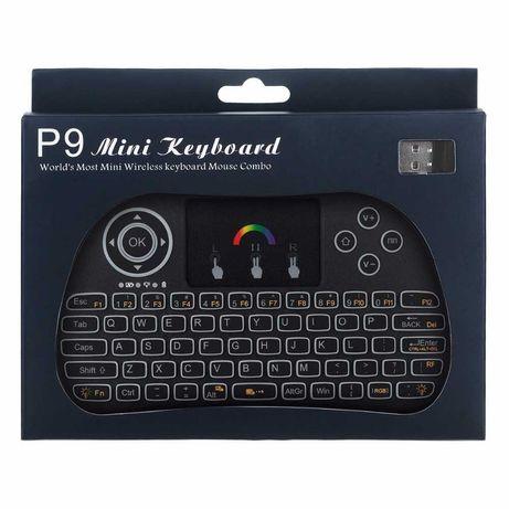 Mini Teclado com Luz de Fundo P9 sem Fio 2.4GHz RGB
