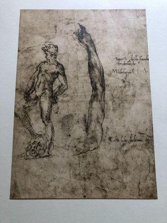 Gravura com esboço para David de Michelangelo