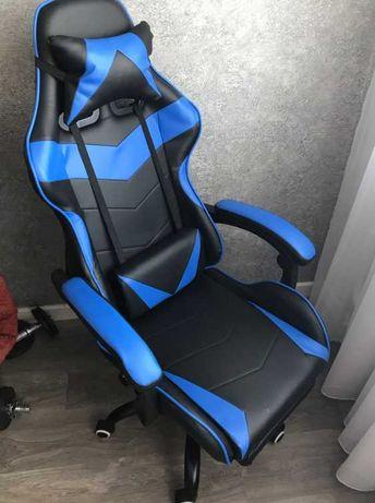 [NOVO] Cadeira Gaming Preta e Azul com Apoio para os Pés