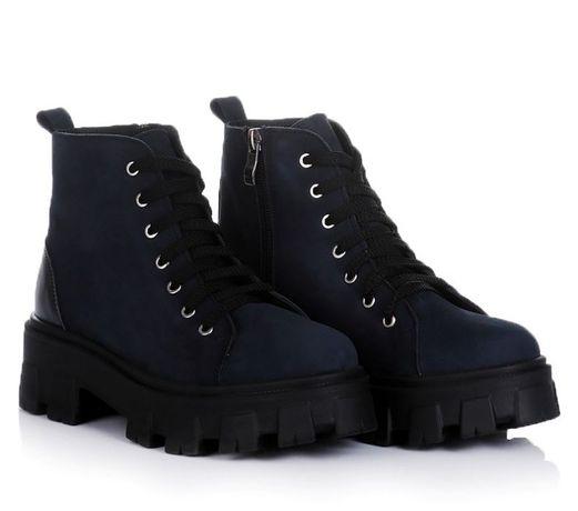 Синие женские ботинки осень натур нубук обувь! 37-40 ХИТ! НАЛОЖКА!