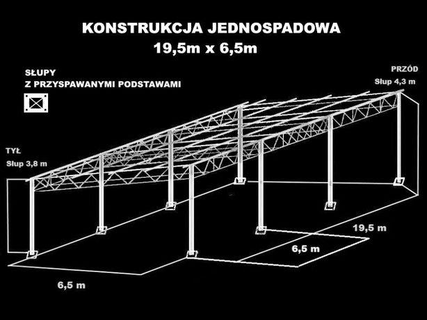Konstrukcja skręcana wiata rolna garaż 19,5 x 6,5m Hala Magazyn Blacha
