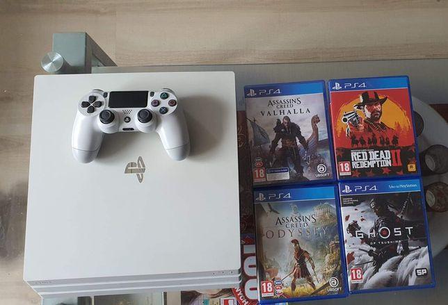 PS4 PRO 1TB Biala + Gry