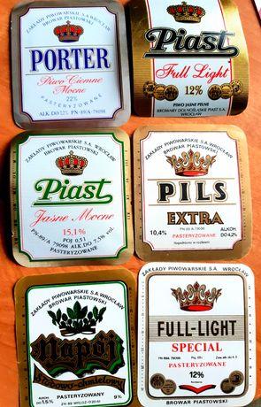 6 różnych etykiet z Piasta