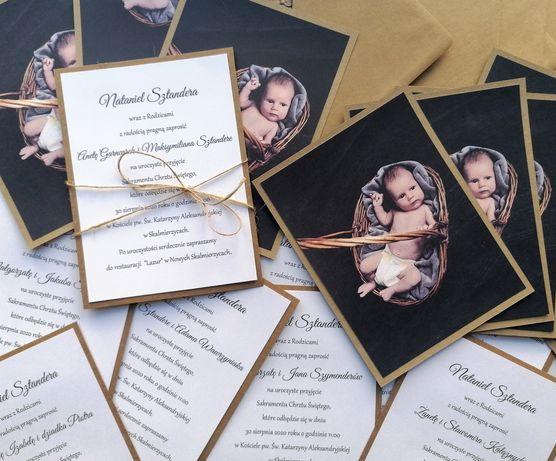 Zaproszenie z zdjęciem zaproszenia na chrzest święty roczek